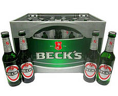 A case of becks beer.