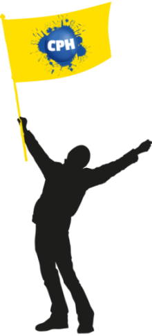 Comic of a man holding a yellow flag.